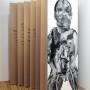 Abjection 2, estampe numérique sur papier et sur acétate, 213 x 76 cm, Axe Néo7, 2003 – Texte: Danièle Vallée