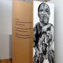 Abjection a, impression numérique sur papier et sur acétate, 213 x 76 cm, Axe Néo7, 2003 – texte – Danièle Vallée :  « Un jour, l'enfant remarque une cicatrice profonde dans la chair de l'orme. Il insère le bout de ses doigts et étonnament, toujours plus loin chaque jour. Si bien, qu'au bout d'une semaine, l'orifice gobe son bras jusqu'au coude. »