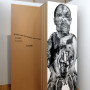 Abjection c, estampe numérique sur papier et sur acétate, 213 x 72 cm, Axe Néo7, 2003 – texte – Danièle Vallée : « L'enfant rampe alors jusqu'au coeur de l'orme. S'y installe, S'y sent bien. Y grandit.  »