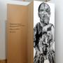 Abjection d, estampe numérique sur papier et sur acétate, 213 x 72 cm, Axe Néo7, 2003 – texte – Danièle Vallée : « Toute la seive coule maintenant dans les veines de l'enfant pour le nourrir. Il mûrit. Il se transforme. Déjà un homme.  »
