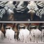 Hyperbole, transferts photo et huile sur aluminium, 75 x 120 cm, 1999